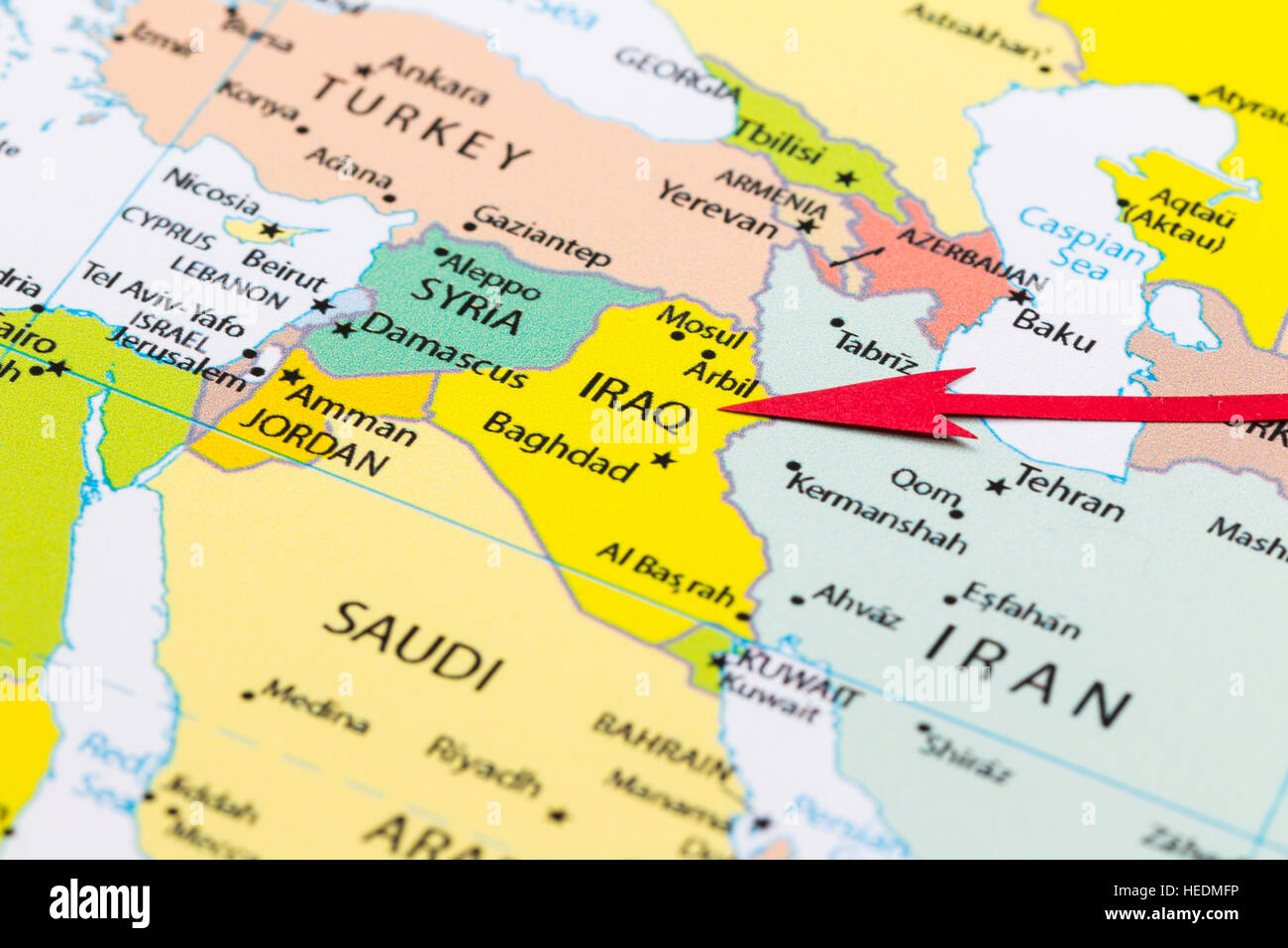 Red arrow pointing Iraq on the map of Asia continent Stock Photo