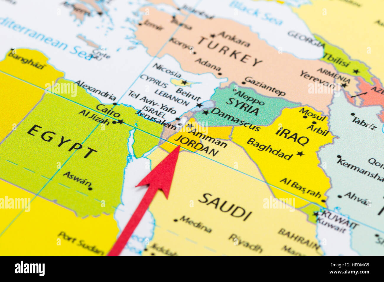 Red Arrow Pointing Jordan On The Map Of Asia Continent Stock Photo - What continent is syria in