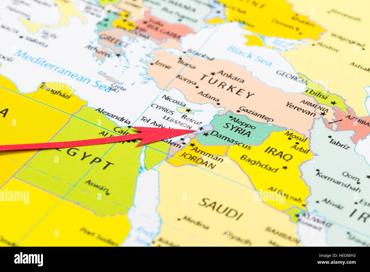 Red arrow pointing Lebanon on the map of Asia continent Stock
