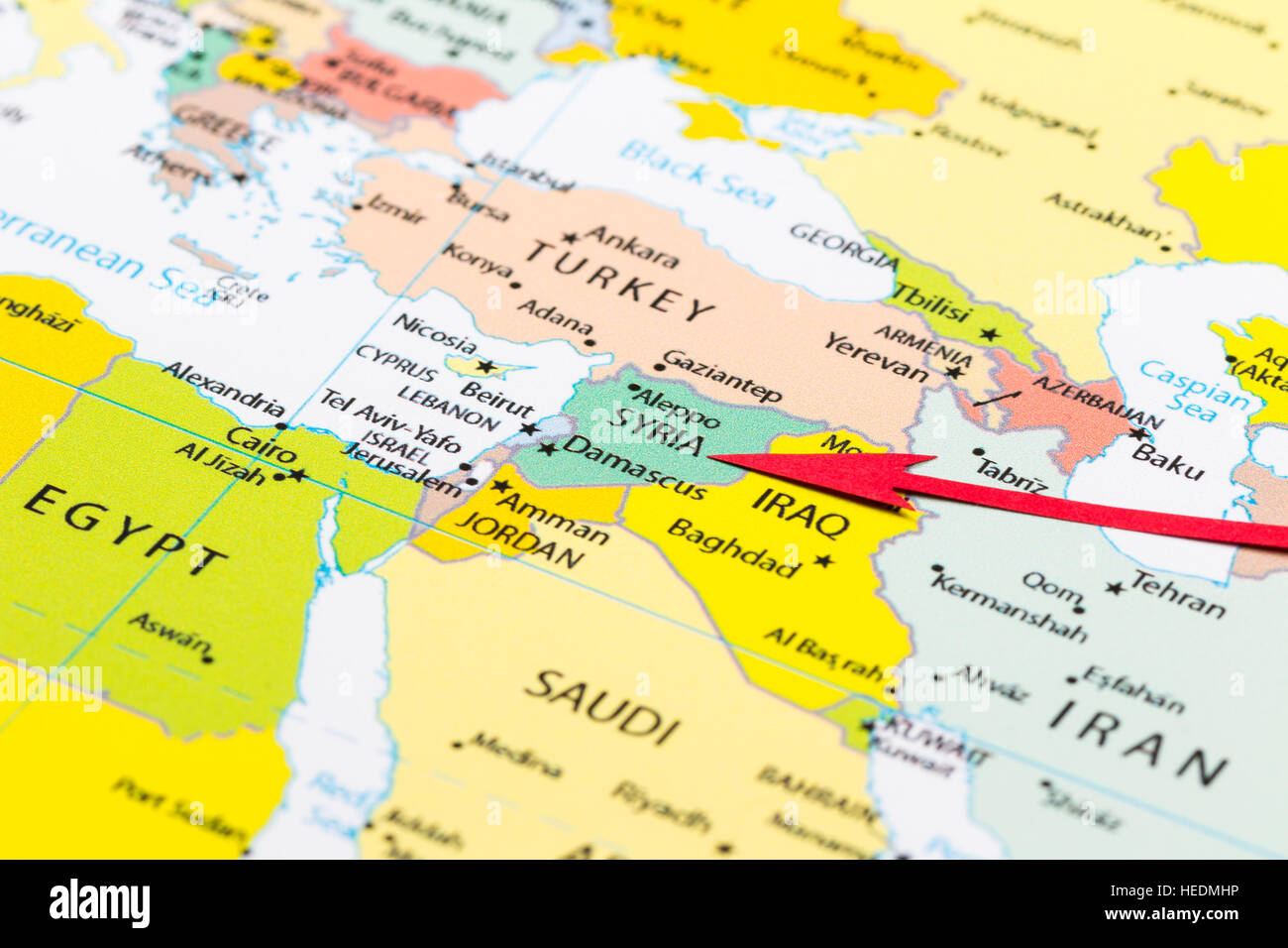 Red Arrow Pointing Syria On The Map Of Asia Continent Stock Photo - Is syria in asia
