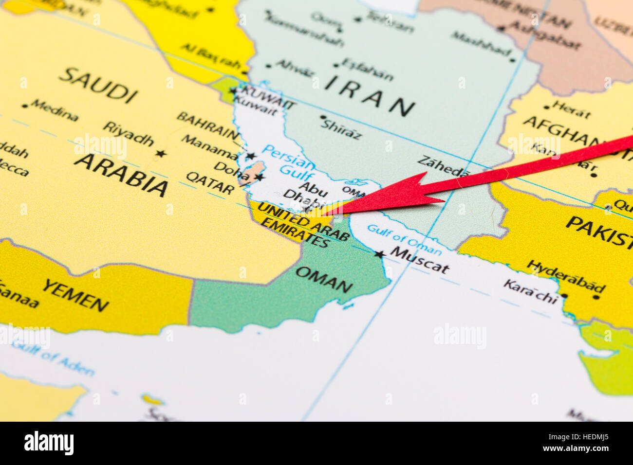 red arrow pointing united arab emirates on the map of asia continent. red arrow pointing united arab emirates on the map of asia