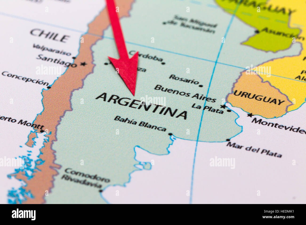 Red Arrow Pointing Argentina On The Map Of South America Continent - Argentina map in south america