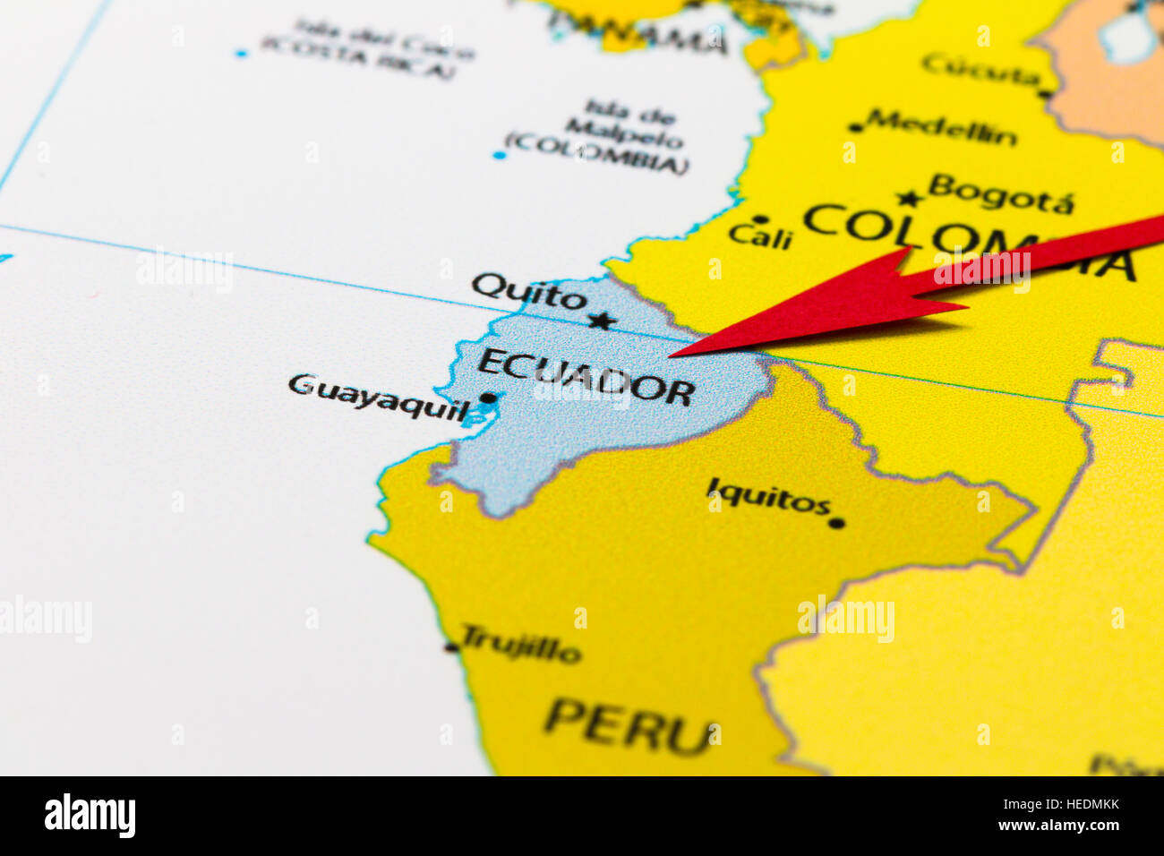 Red Arrow Pointing Ecuador On The Map Of South America Continent - Map of ecuador south america
