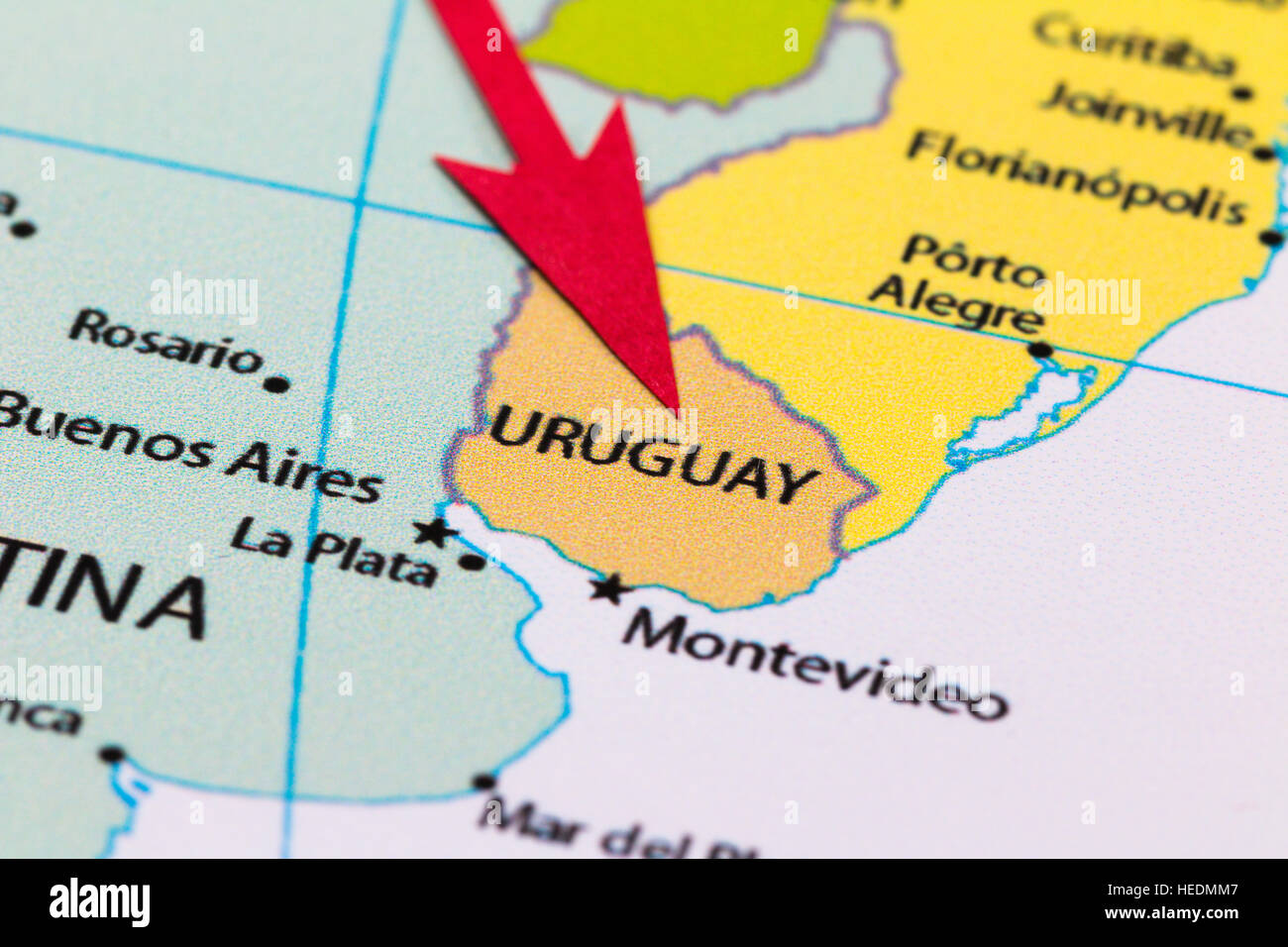 Red Arrow Pointing Uruguay On The Map Of South America Continent - Uruguay map