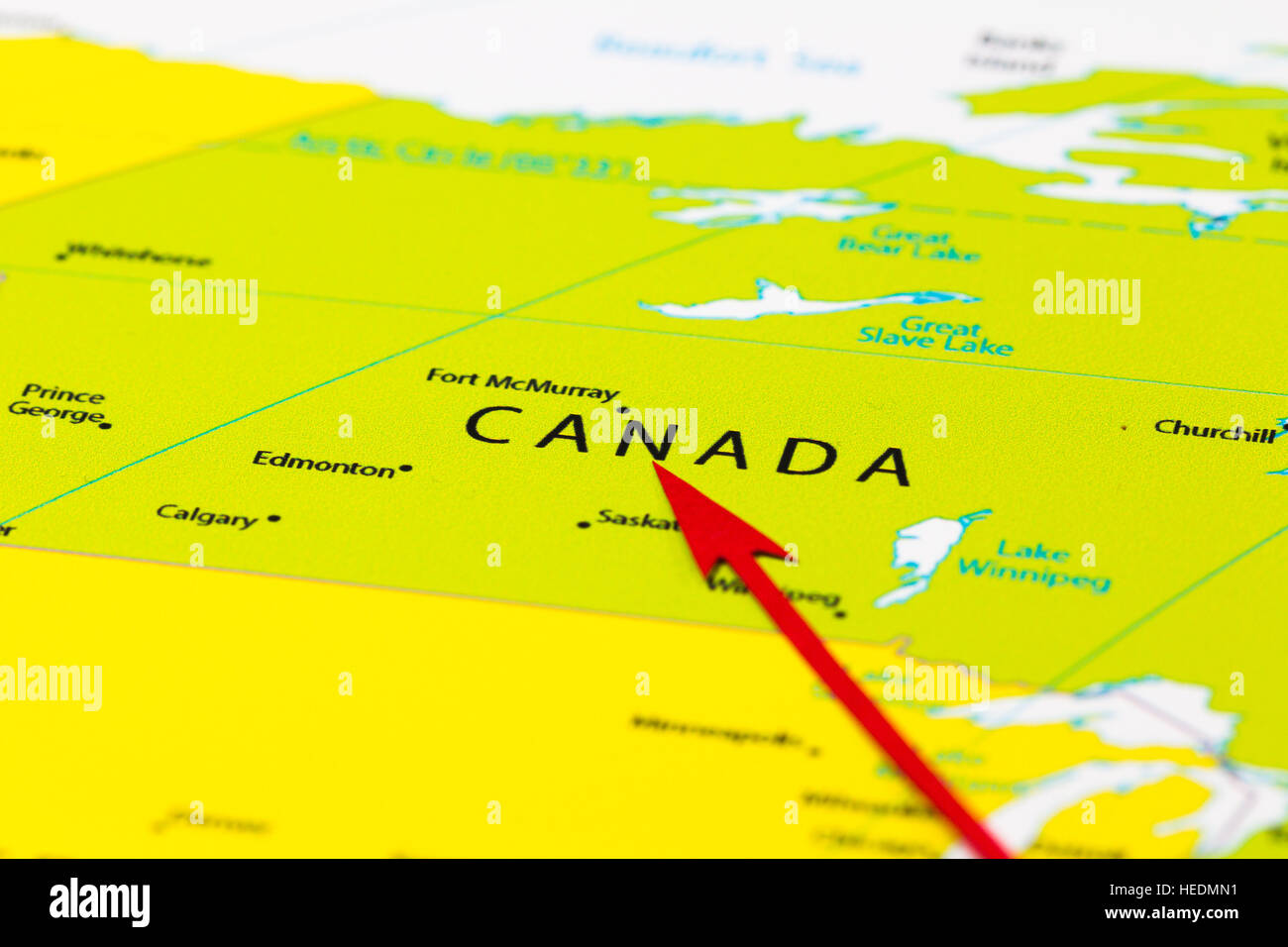 Red Arrow Pointing Canada On The Map Of North America Continent - Canada on a map