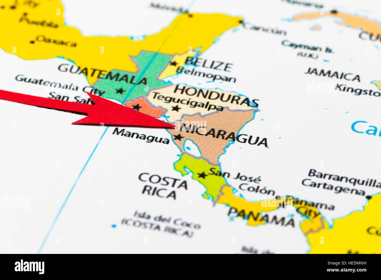 Red arrow pointing nicaragua on the map of south central america red arrow pointing nicaragua on the map of south central america continent gumiabroncs Images