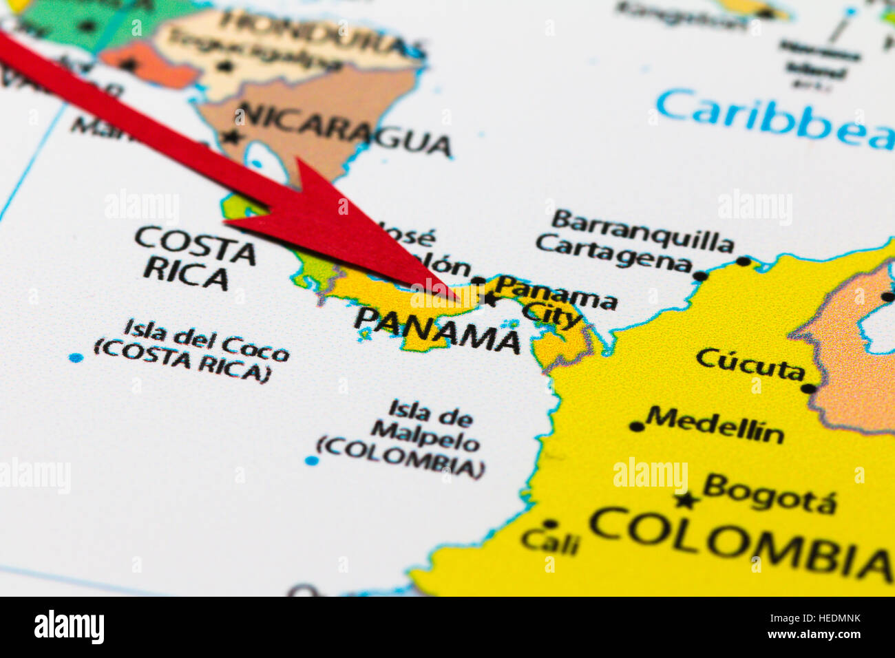 Red Arrow Pointing Panama On The Map Of South Central America - Map of costa rica central america