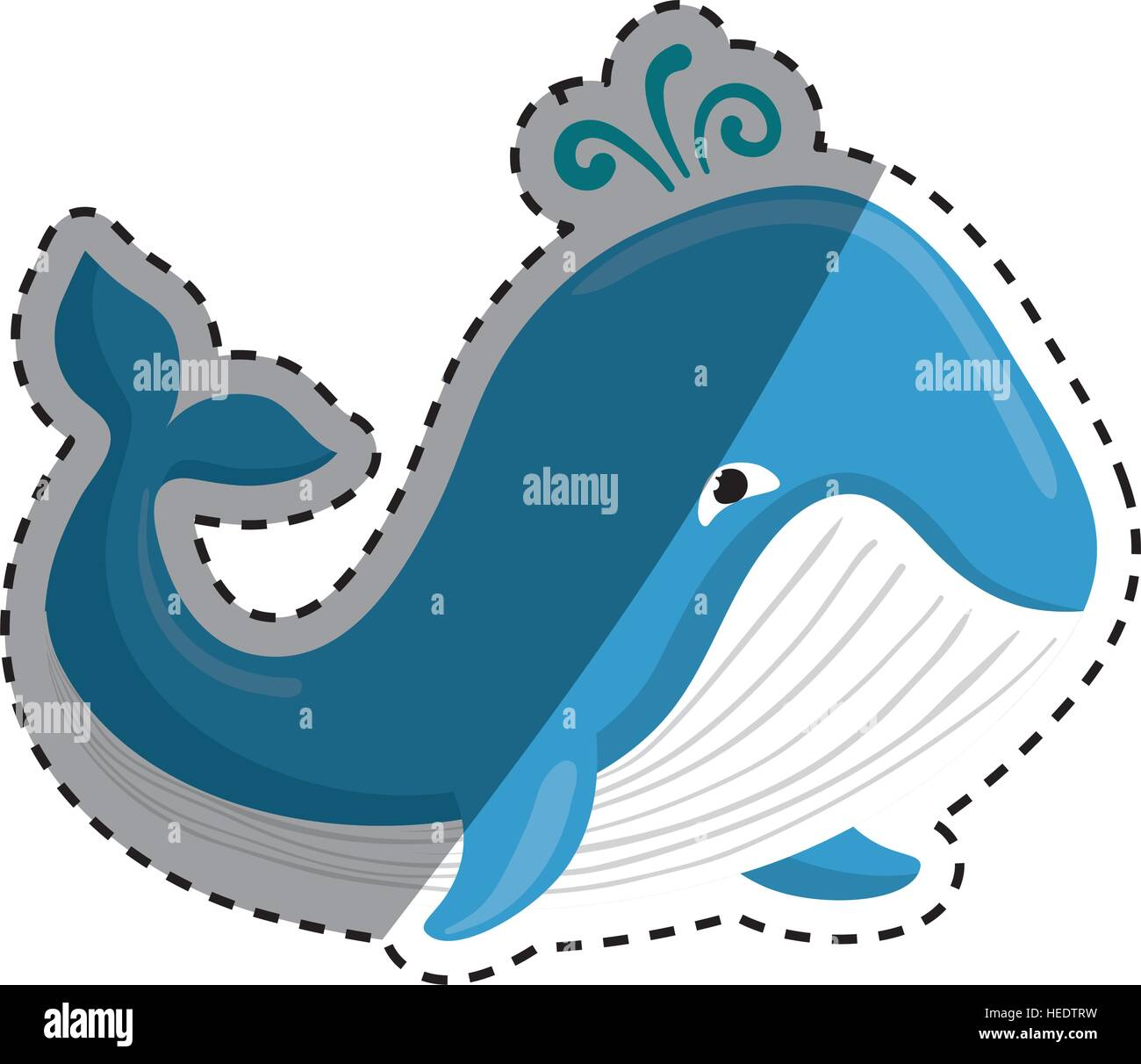 Cute whale in water cartoon isolated illustration stock photography - Cute Whale Cartoon Icon Vector Illustration Graphic Design
