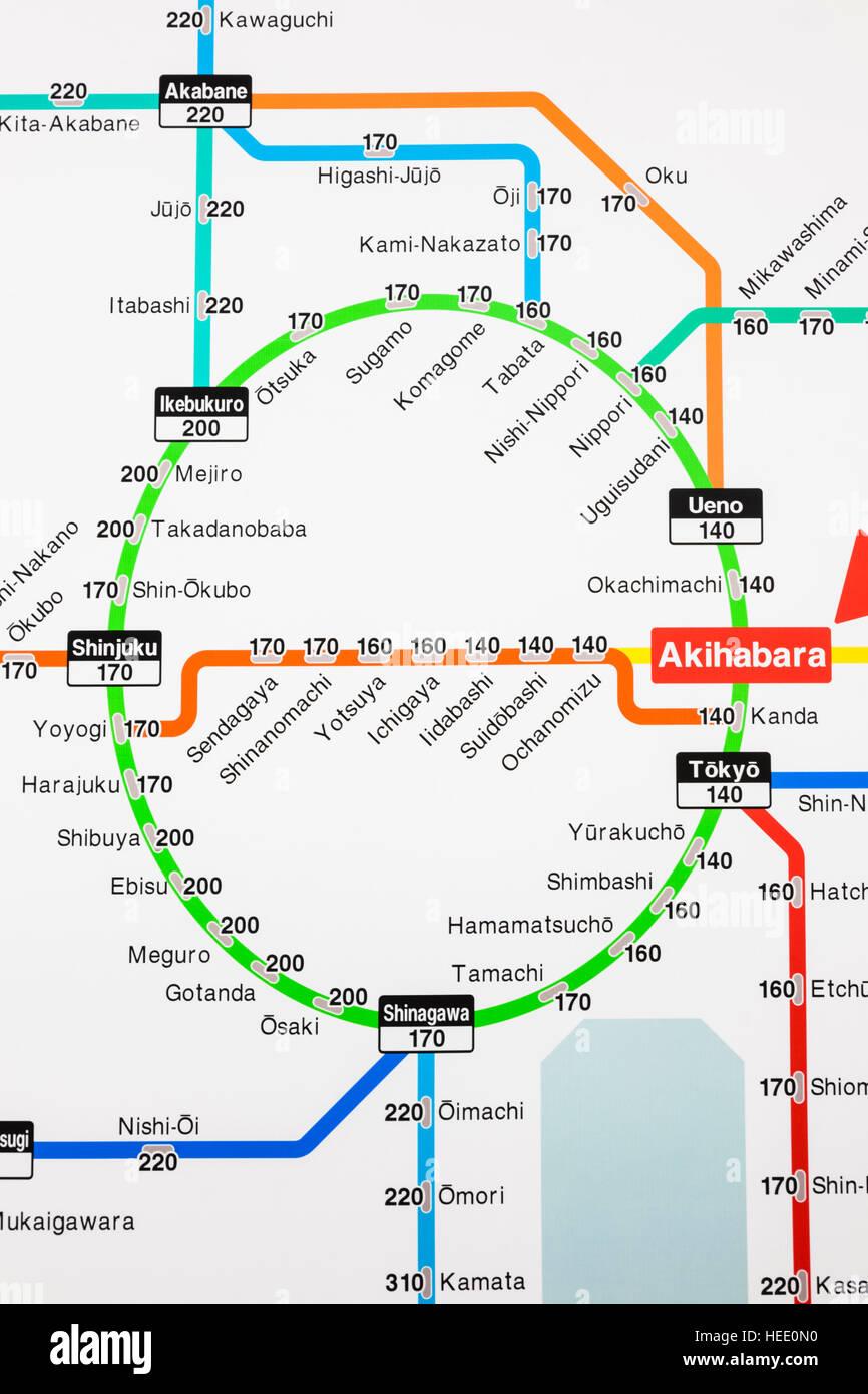 Japan Honshu Tokyo Akihabara Station Train Network Map Showing - Japan map honshu