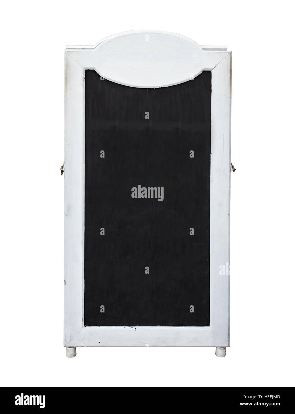 vintage old wood framed chalkboard menu sign isolated on white background - White Framed Chalkboard