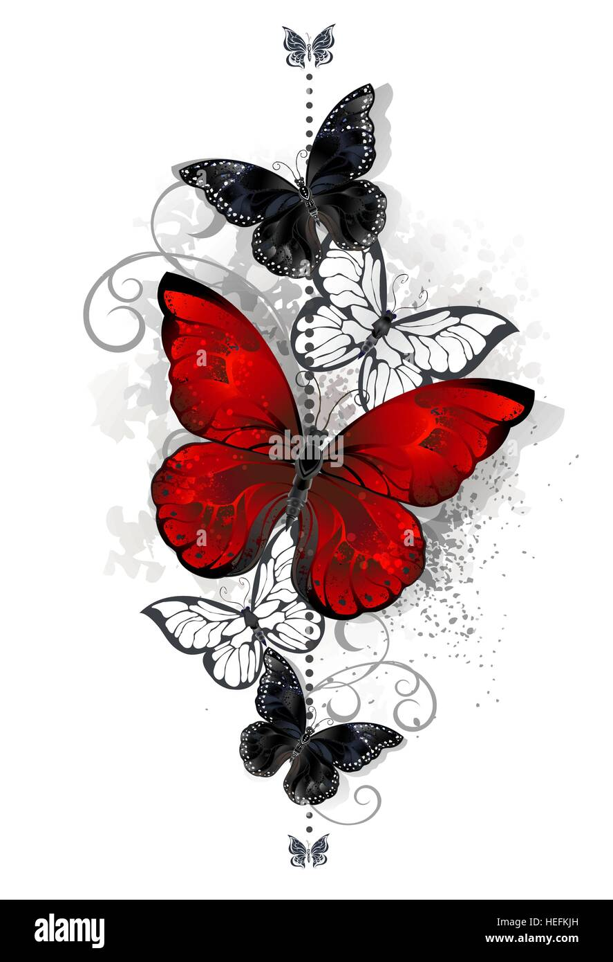 The composition of a bright red and black butterfly