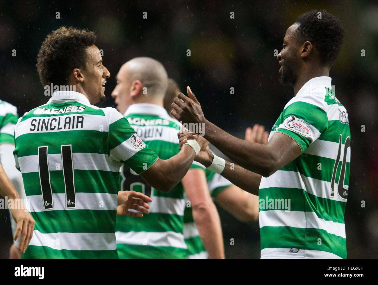 Celtic s Moussa Dembele right celebrates with Scott Sinclair