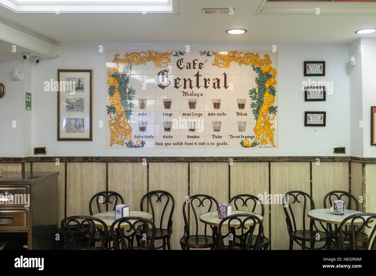 ceramic tiles mural showing different ways to serve coffee at cafe