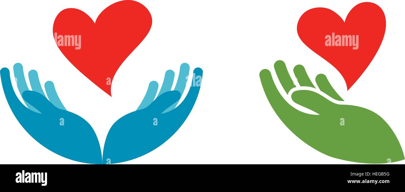 heart in hand symbol or icon logo template for charity