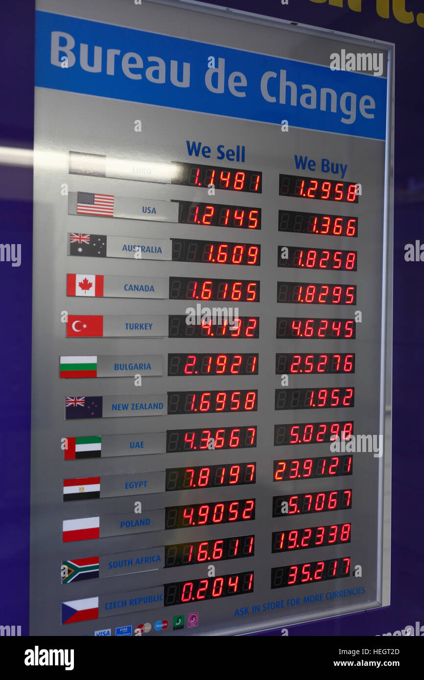 Bureau de Change display board showing rates of exchange Stock