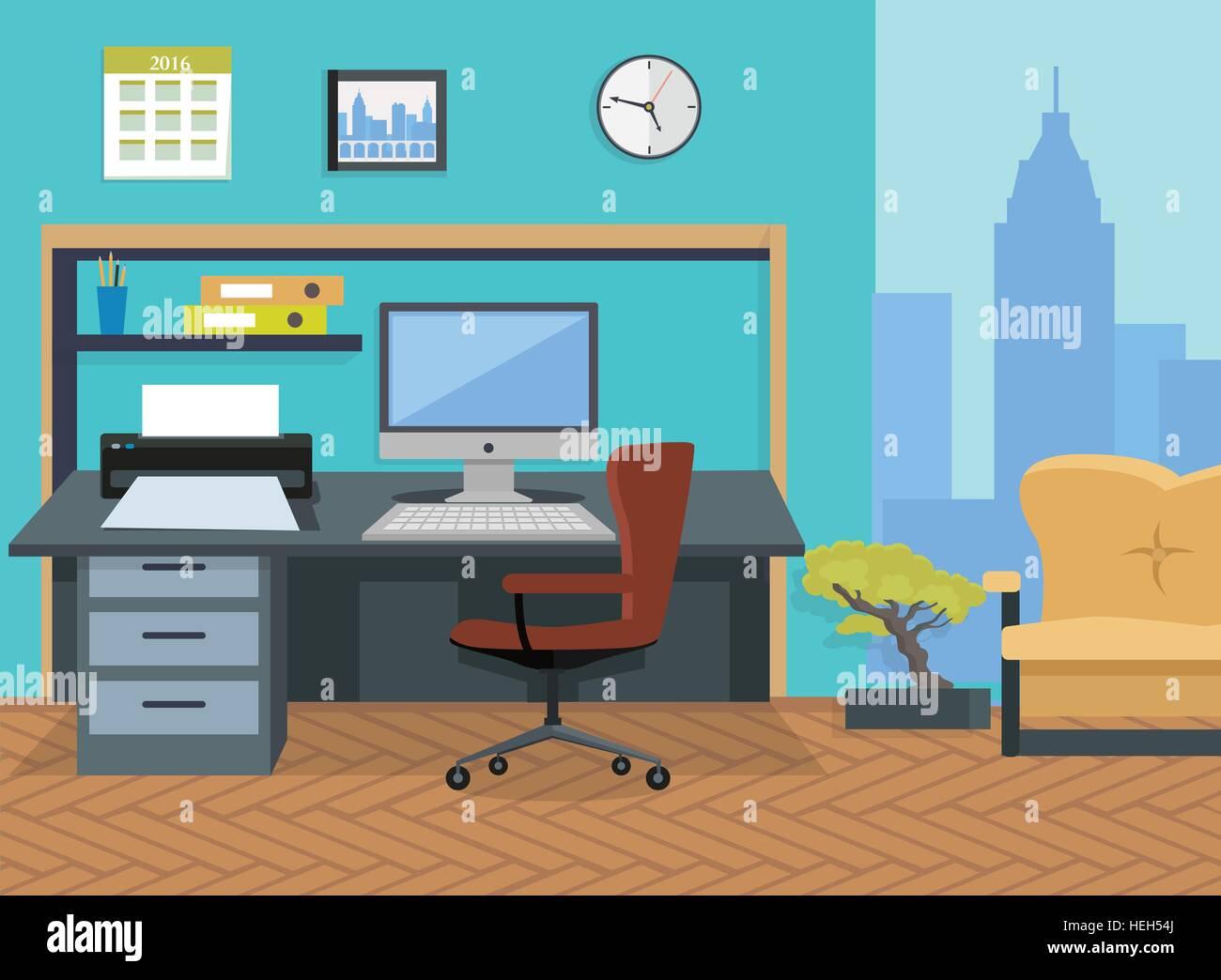 Interior Office Room Illustration For Design Modern