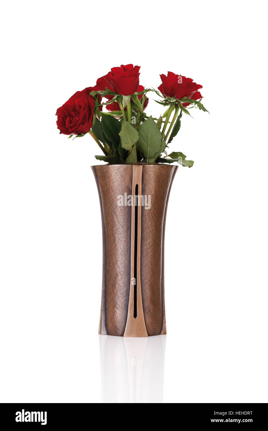 Red roses in a vase grave decoration stock photo royalty free red roses in a vase grave decoration floridaeventfo Choice Image