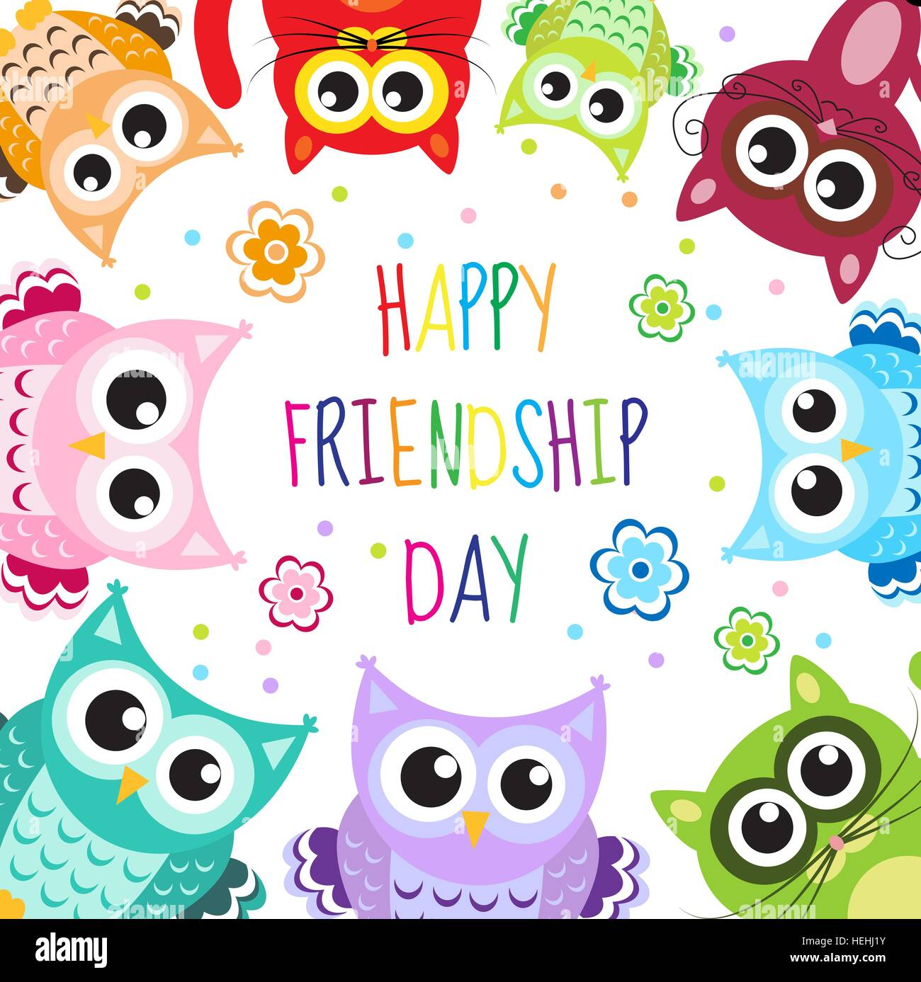 greeting card with a happy friendship day greeting cute cartoon