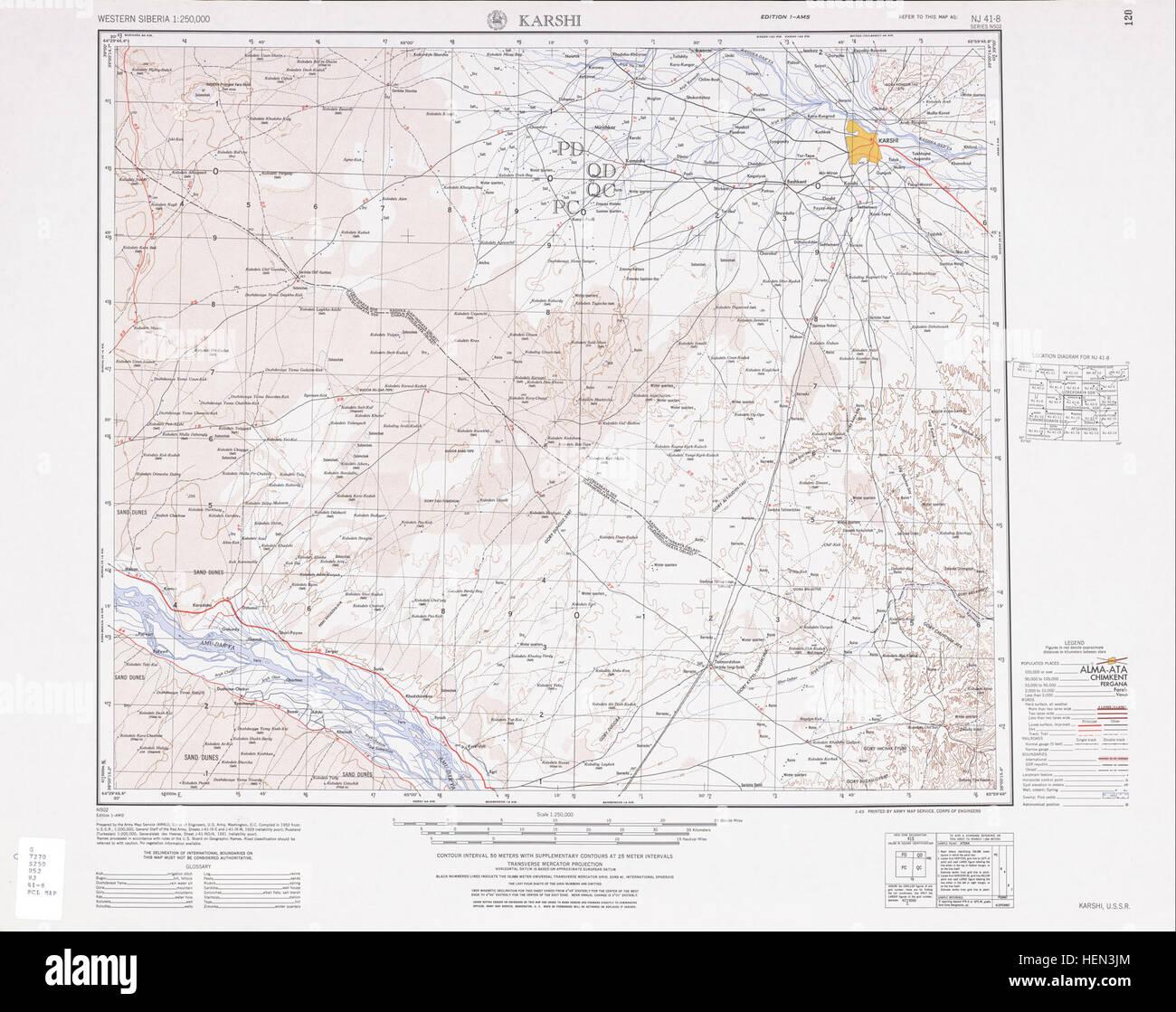 USSR map NJ 418 Karshi Stock Photo 129541628 Alamy