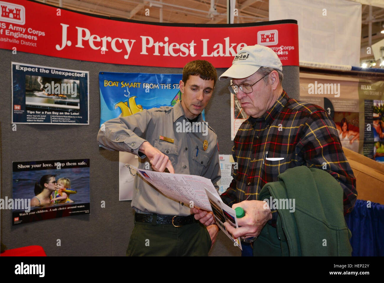 u s army corps of engineers nashville district park ranger noel smith from j percy priest lake shows steve enfinger from columbia tenn a map of the j