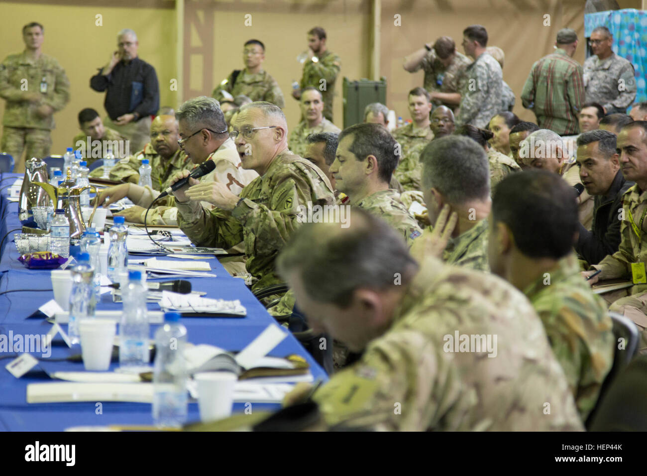 James l terry commanding general of combined joint task force operation inherent resolve speaks to cjtf oir military leaders during a coalition