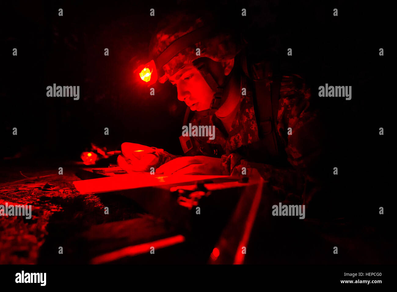 Spc Adam L Job A Medical Laboratory Specialist With The 4225th U S Army Hospital Fort Harrison Mont Plots Coordinates On A Map Before A Land