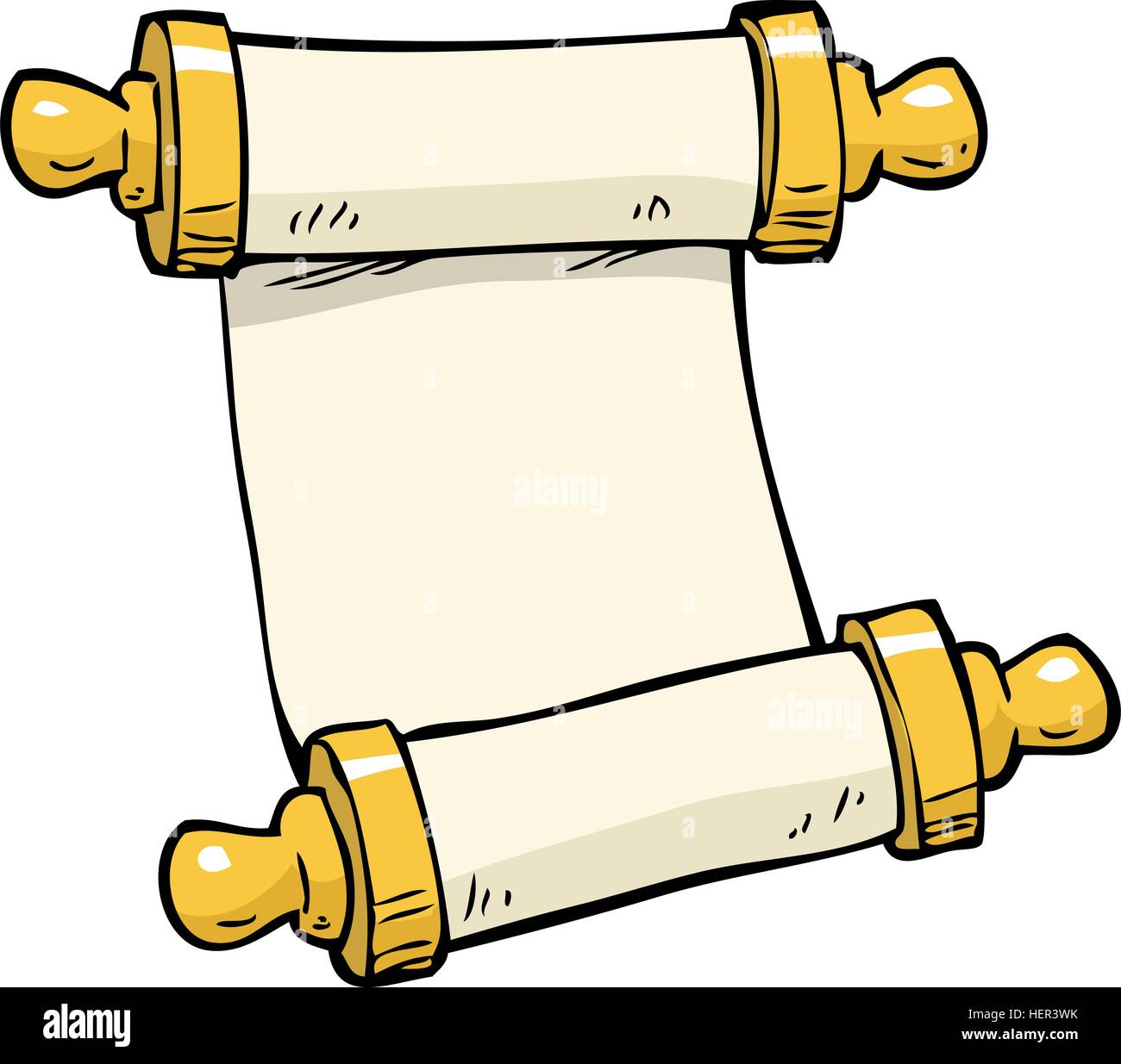 Cartoon Doodle Ancient Scroll On A White Background Vector