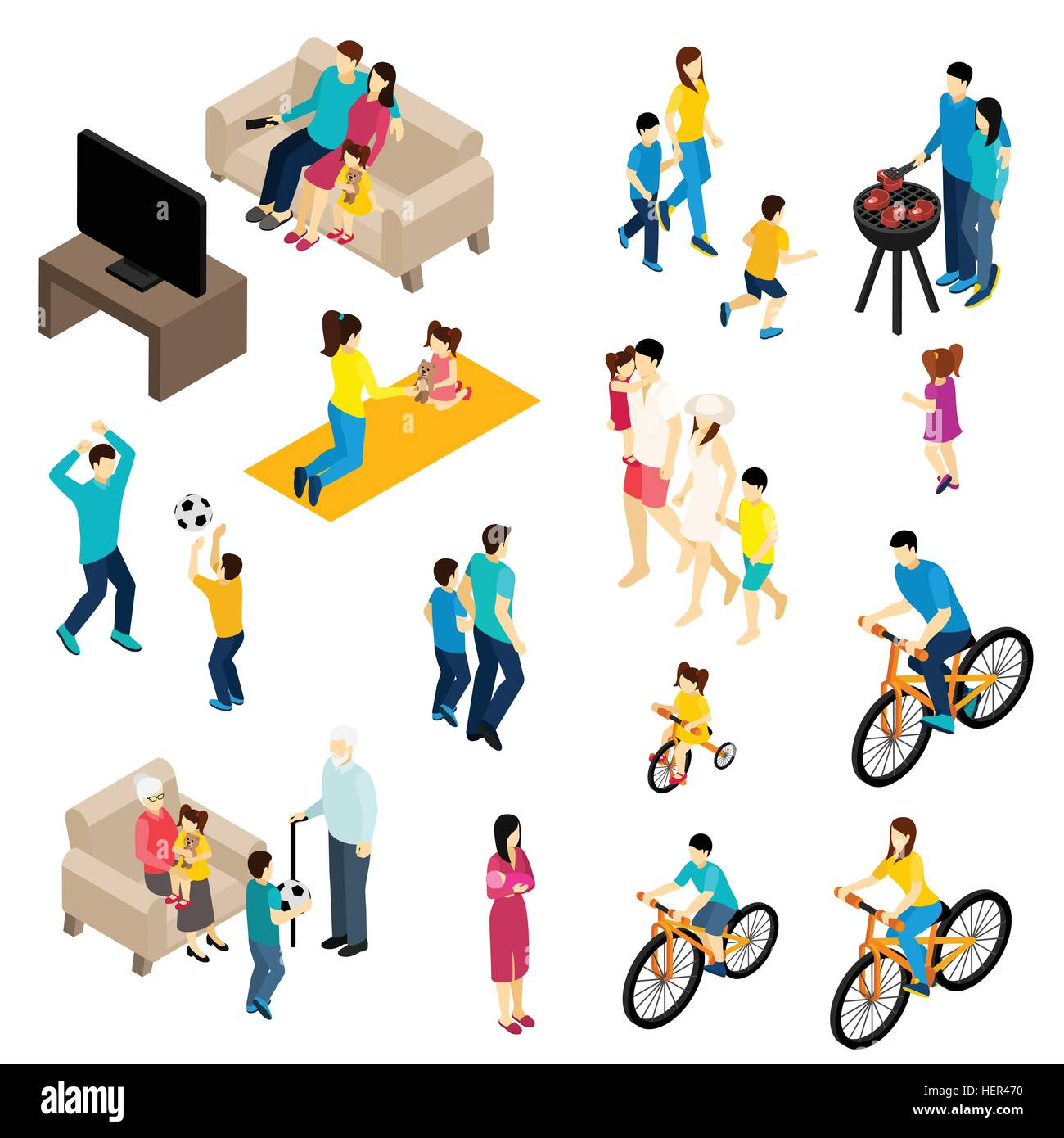 Family isometric set family isometric set with free time and family isometric set with free time and activities symbols isolated vector illustration biocorpaavc Images