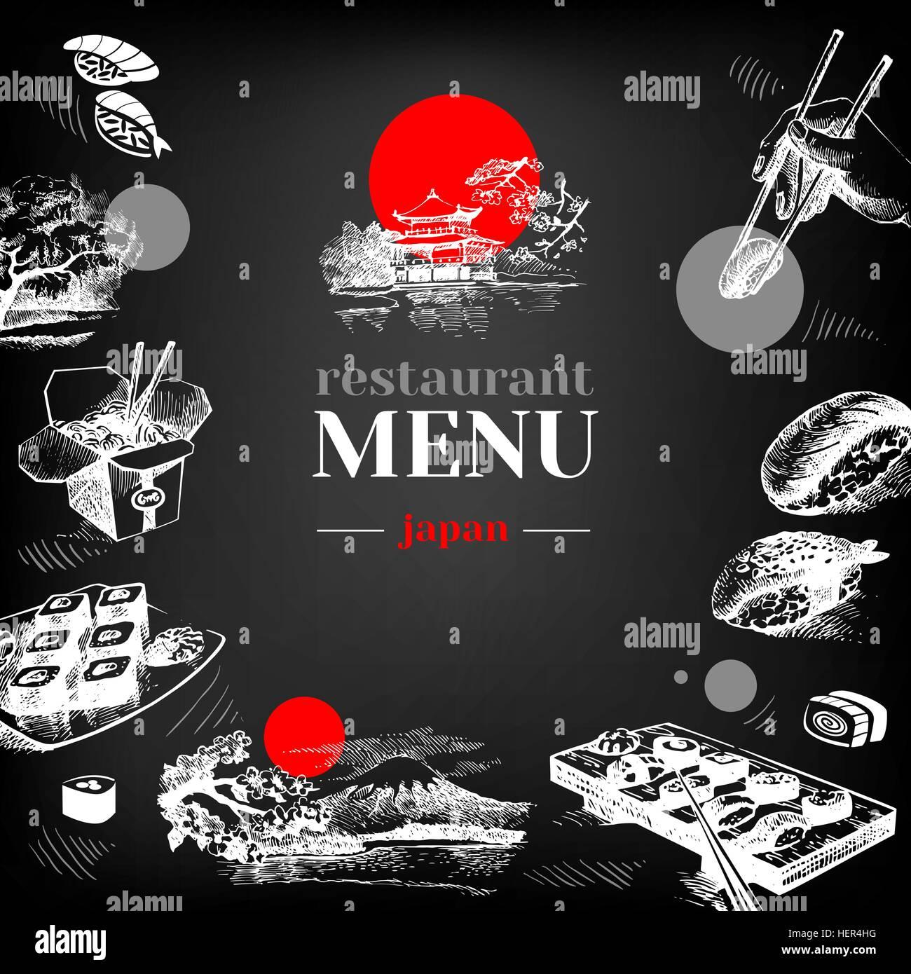 Restaurant Chalkboard Japanese Food Menu. Hand Drawn