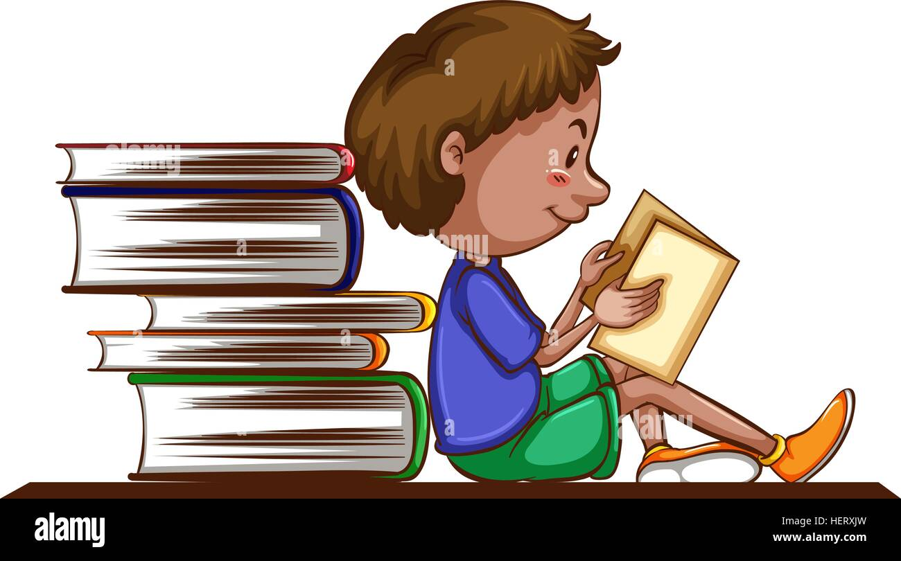 Boy reading book on white background illustration Stock ...