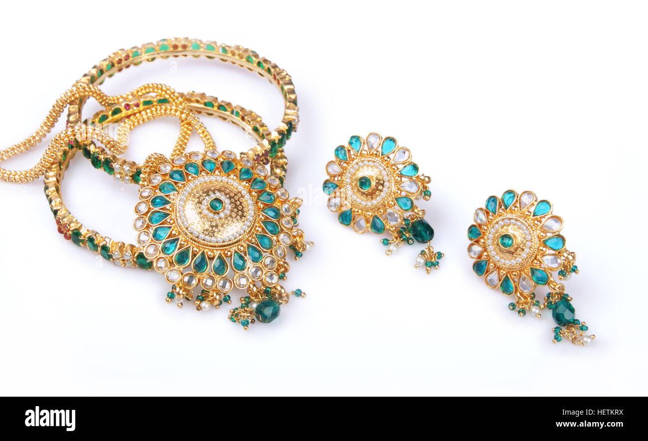 Indian Traditional Gold Necklace with Earrings Stock Photo ...