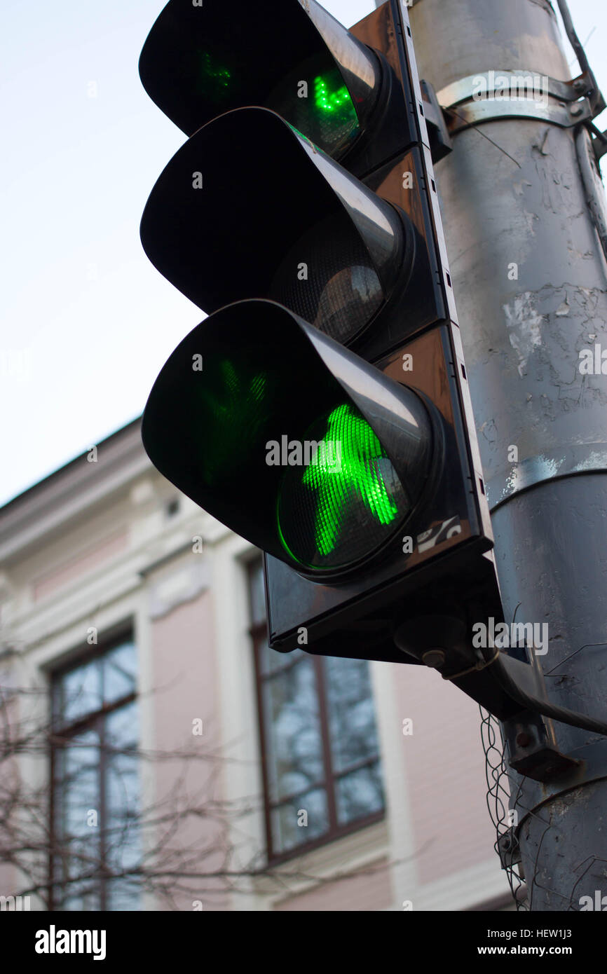 traffic lights green color transition is possible stock photo