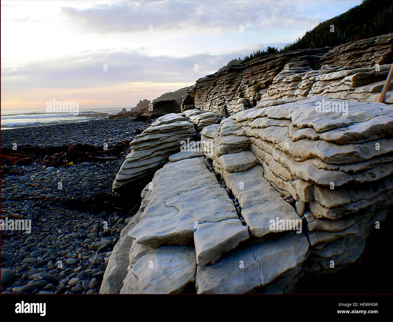 The Pancake Rocks that Punakaiki is famous for, are ...