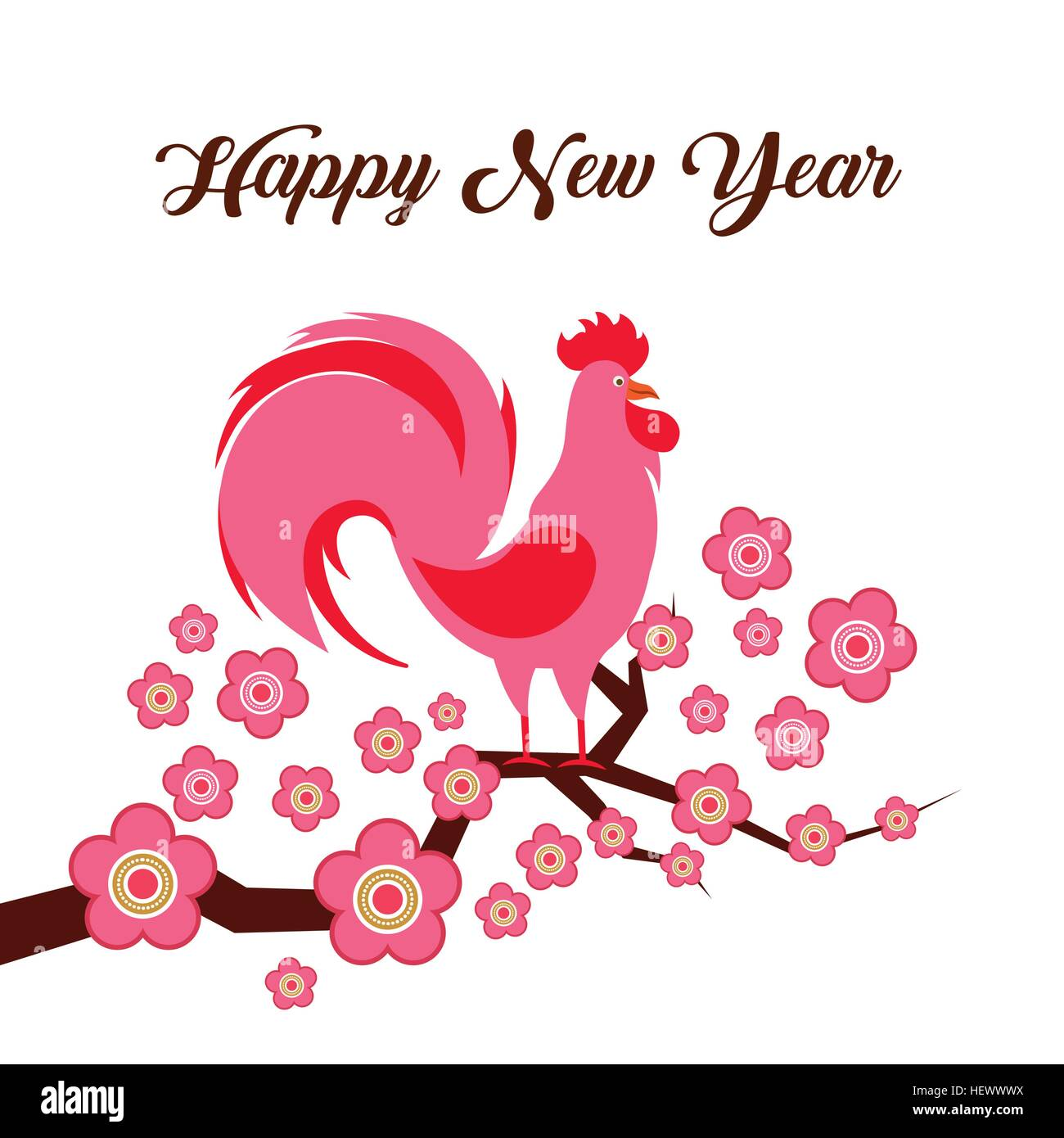 Happy new year card chinese year of rooster colorful design vector