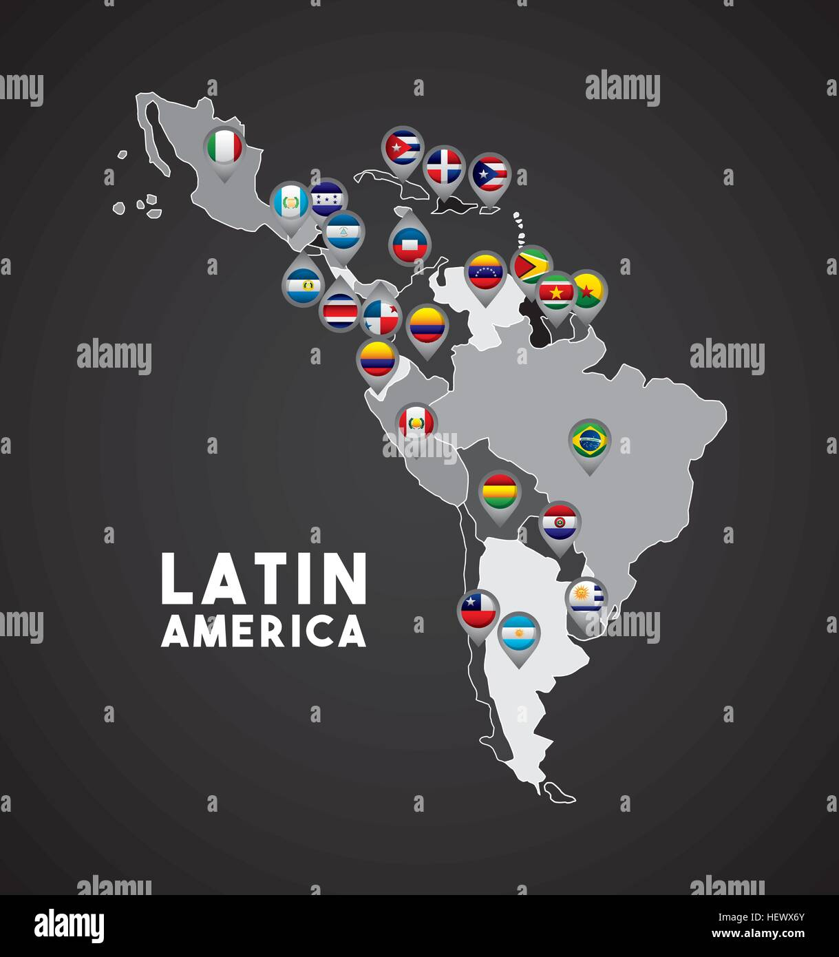 Worksheet. Map of Latin America with the flags of countries on location pins