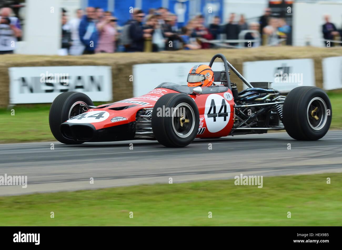 Lotus Ford 59 Formula 3 car racing up the hill climb at the 2016 ...