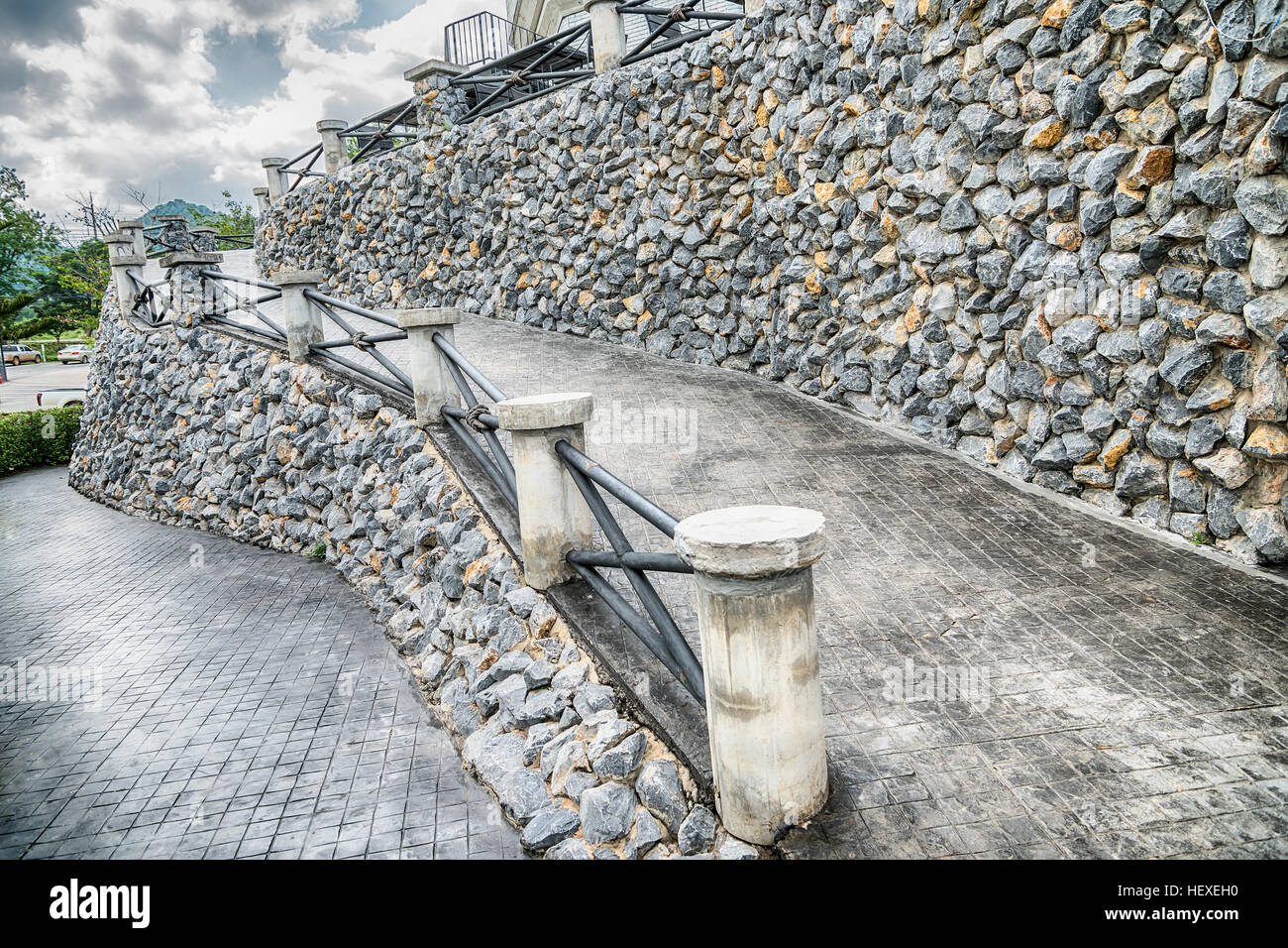 Sloping Stone Stair Steps In Vintage Style