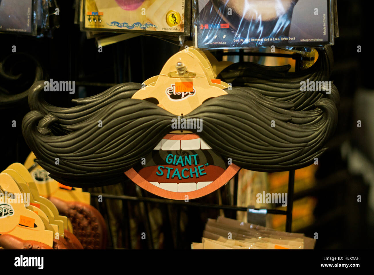 A fake plastic mustache for sale at the Halloween Adventure ...
