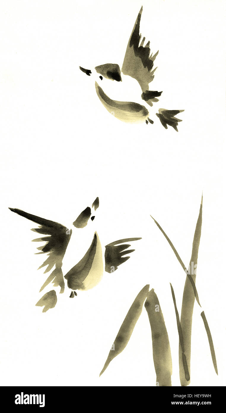 Birds Painting Watercolor