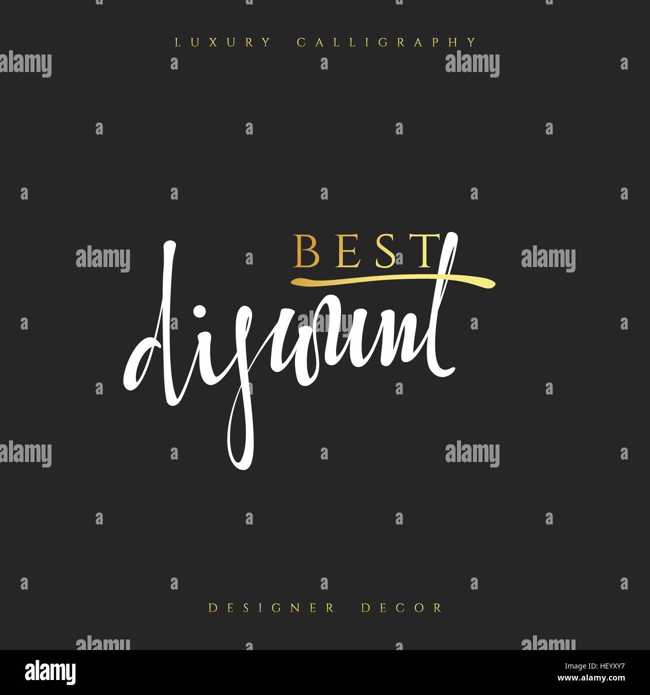 Poster design handmade - Inscription Best Discount Calligraphic Handmade Advertising Poster Design Sale Discount Banners Labels