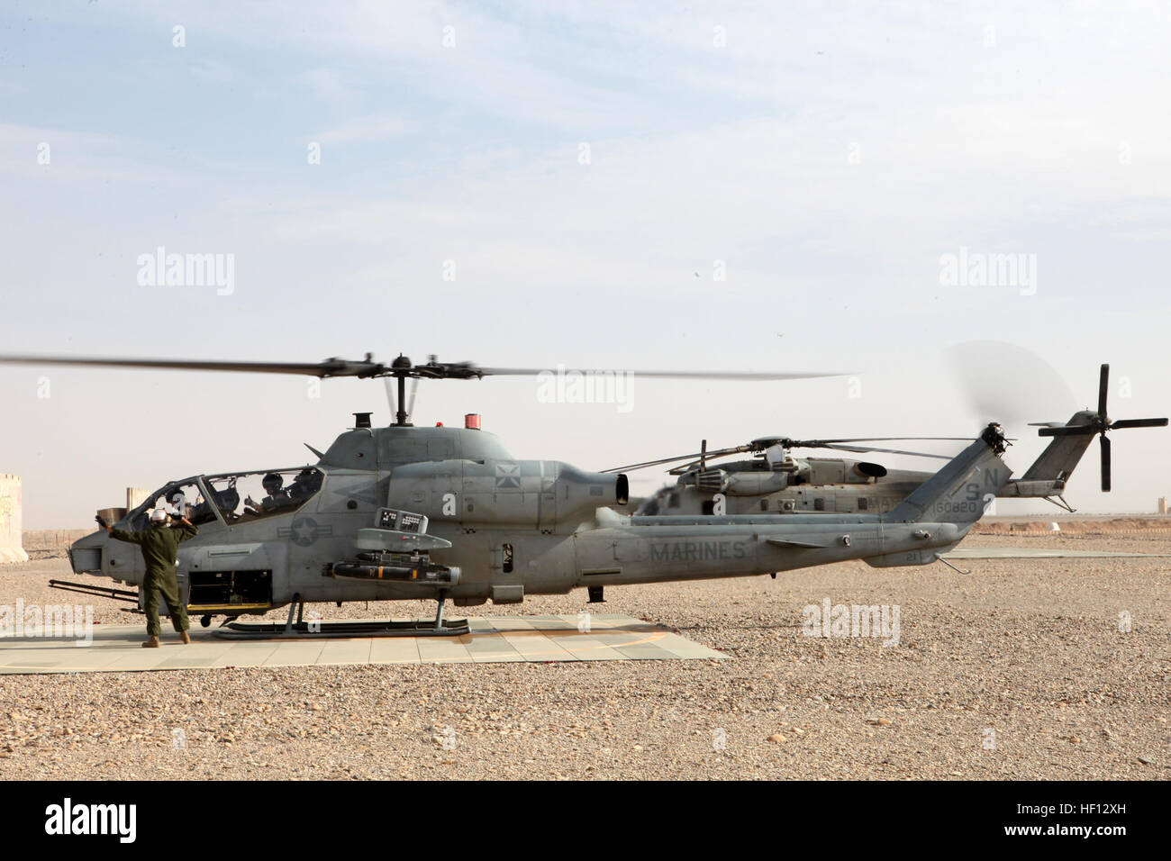 A U.S. Marine Corps AH-1W Super Cobra attack helicopter ...