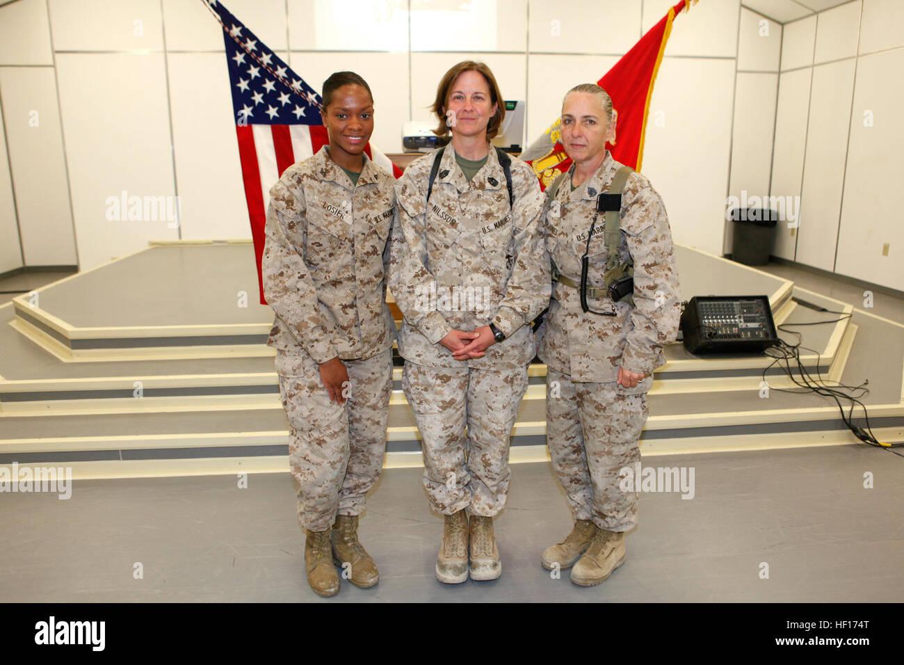 U.S. Marine Lance Cpl. Magdala J. Losier (left) An Administrative Clerk  With Marine Light Attack Helicopter Squadron 169, Sgt. Maj. Lisa K. Nilsson  (center) ...  Administrative Clerk