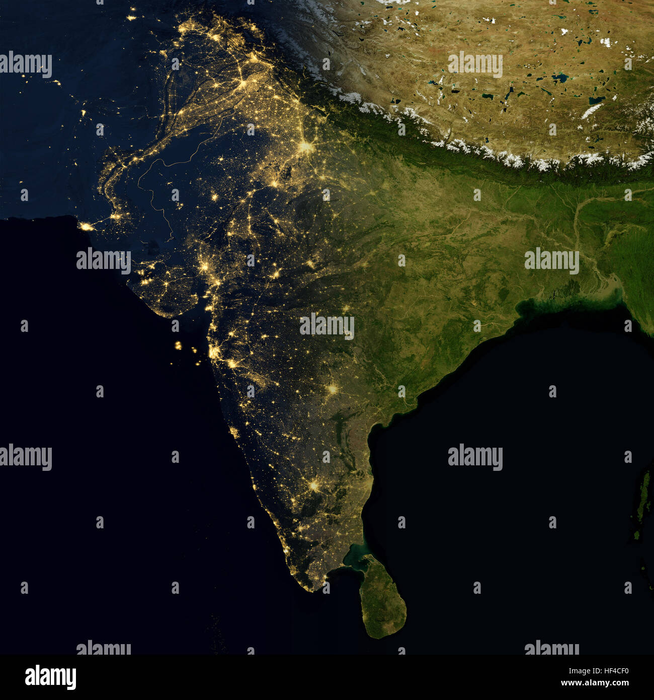 City lights on world map India Stock Photo Royalty Free Image