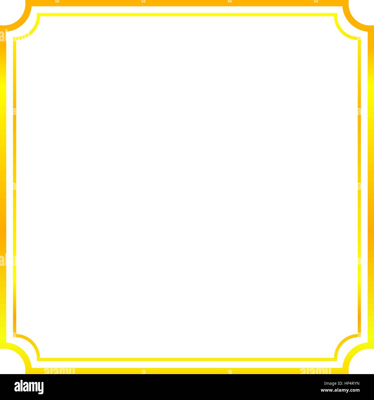 simple frame border design. Gold Frame. Beautiful Simple Golden Design. Vintage Style Decorative Border, Isolated On White Background. Deco Elegant Art Object. Empty Copy Space F Frame Border Design