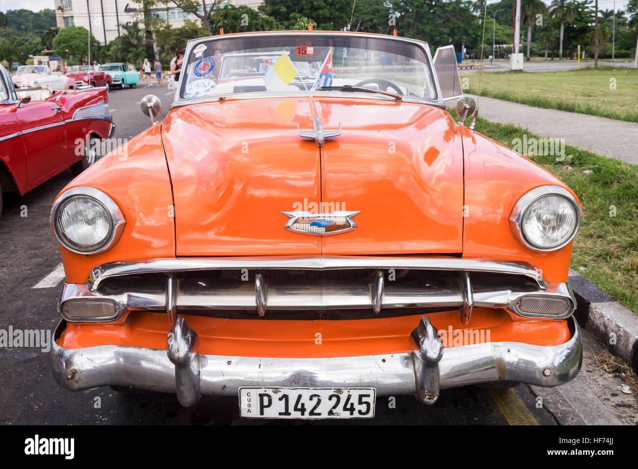 Old American Chevrolet 1950s cars in La Havana, Cuba Stock Photo ...