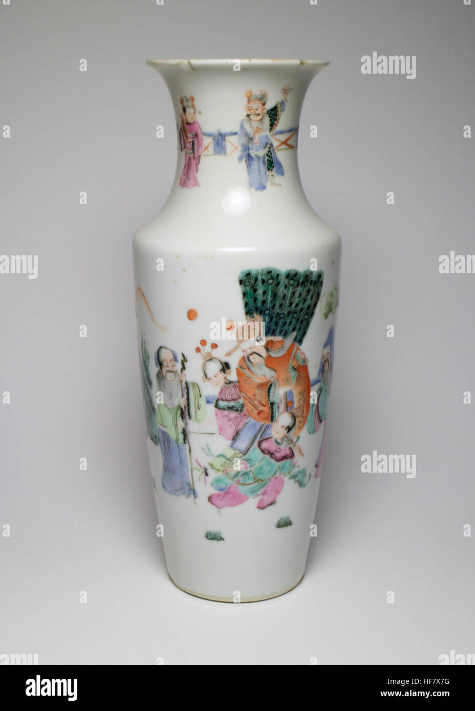 Antique chinese famille rose porcelain vase painted with figures antique chinese famille rose porcelain vase painted with figures within a garden and with mountains in the background neck with further figures befor reviewsmspy