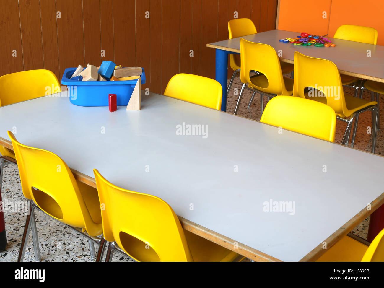 Kindergarten classroom table - Stock Photo Tables And Chairs In The Classroom Of Kindergarten Without Children