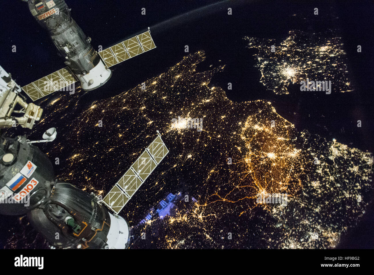 NASA International Space Station Crew Members Capture A Nighttime - Earth satellite view 2016