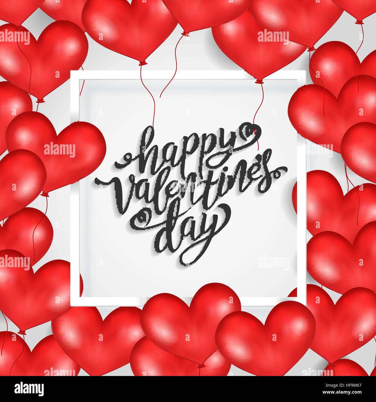 Happy Valentine s Day White Frame Red Heart Balloons White