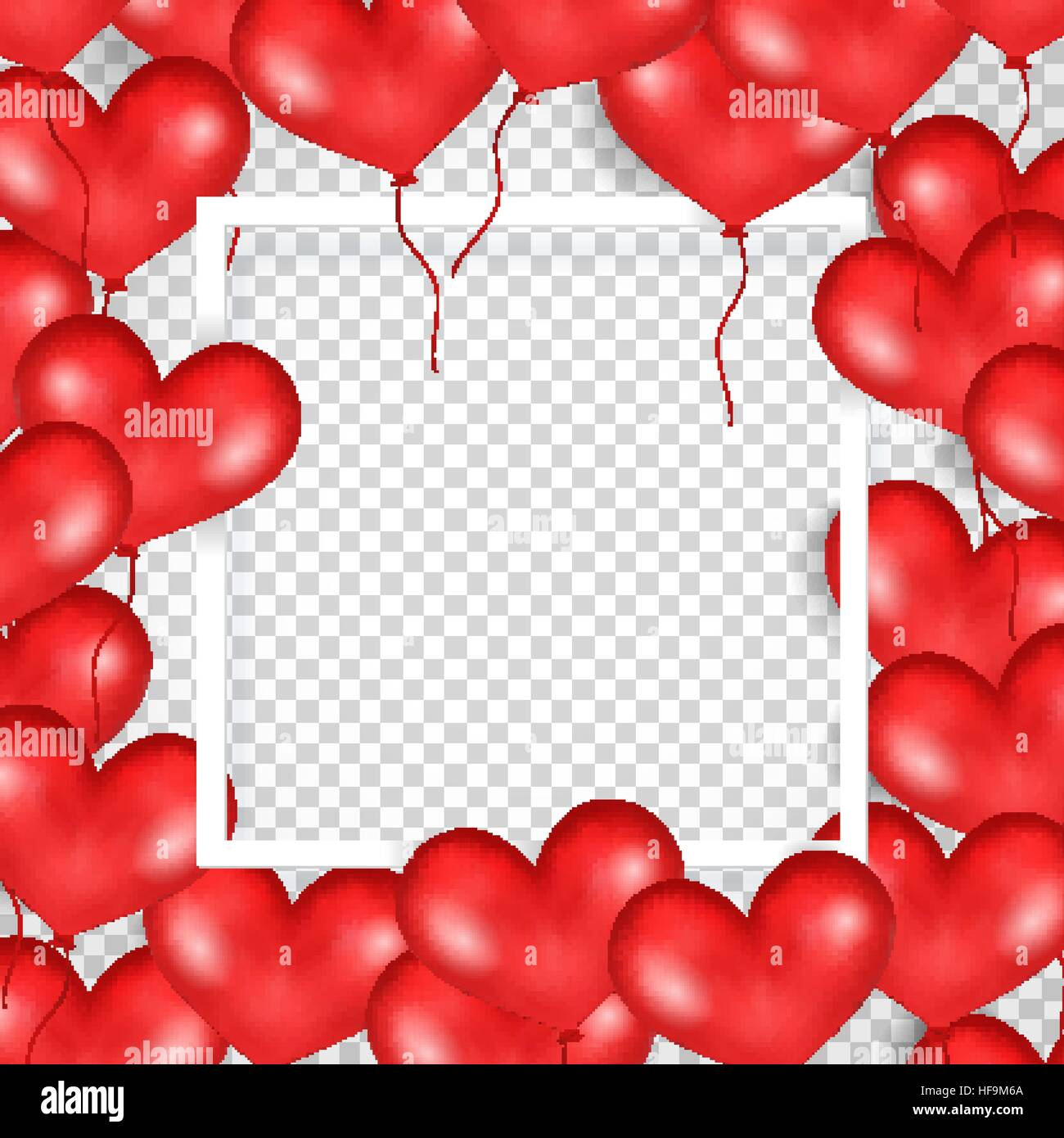 frame with red balloons in form of heart transparent background big place for text good for wedding anniversary birthday valentine s day party